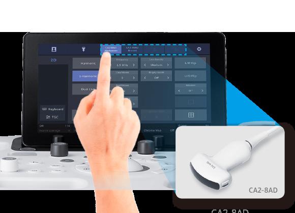 l'operatore seleziona il trasduttore desiderato e le relative impostazioni. Questa funzione massimizza l'efficienza e rende la routine di lavoro giornaliero più semplice e veloce.